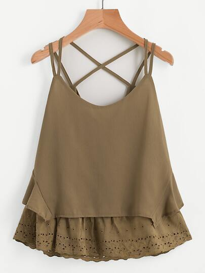 Eyelet Embroidered Hem Criss Cross Back Cami Top