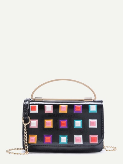 Studded Design Flap Crossbody Chain Bag