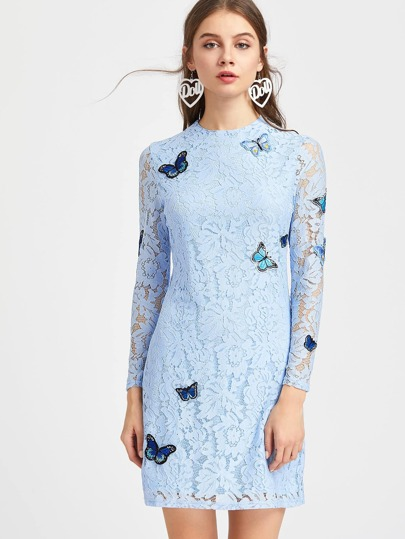 Embroidered Butterfly Applique Floral Lace Dress