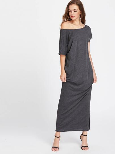 Bow Tie Back Slit Side Maxi Dress