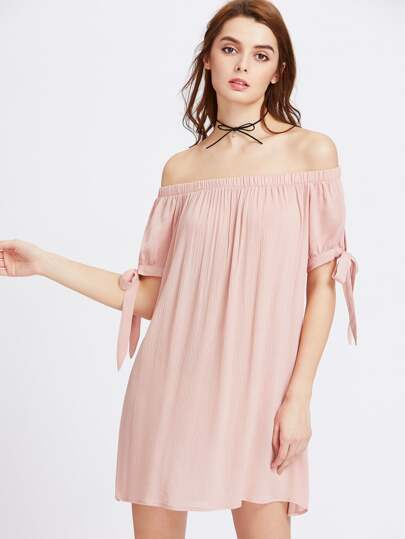 Split Self Tie Sleeve Crinkle Off Shoulder Dress