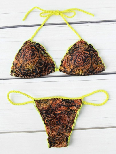 Paisley Print Triangle Bikini Set