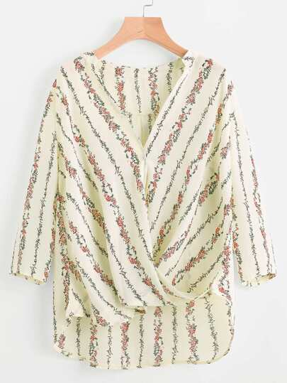 V Neck Twisted Drape Front Blouse