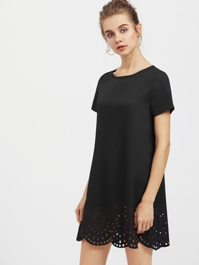 Laser Cut Scallop Hem Dress