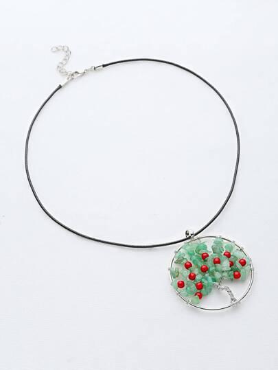 Halskette mit Steinbaum Anhänger