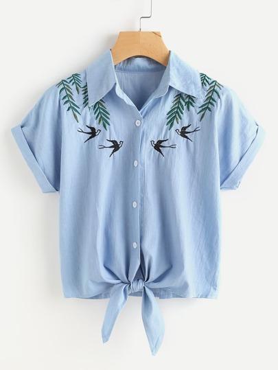 Denim Bluse mit Bändchen und Schwalbenmuster