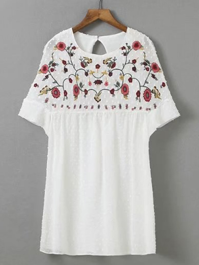 Flower Embroidery Cut Out Back Playsuit