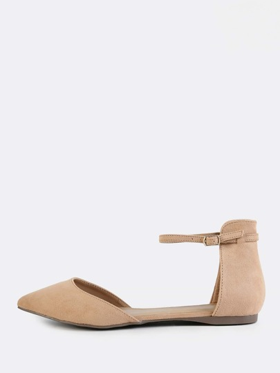 Point Toe Ankle Strap Flats TAUPE