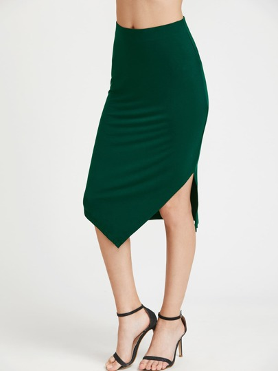 High Waist Asymmetric Pencil Skirt