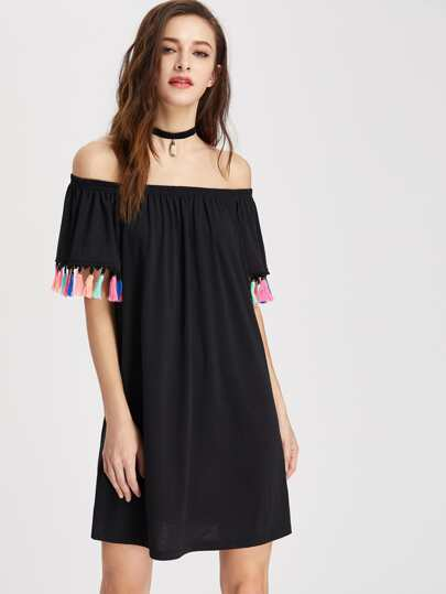 Tassel Trim Elastic Bardot Neck Dress