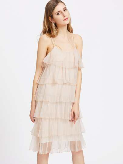 Pleat Mesh Tiered Cami Dress