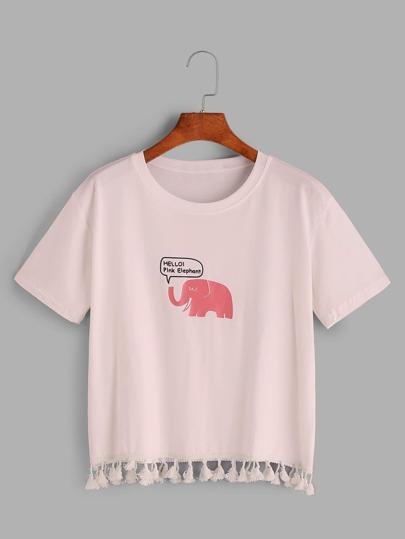 Elephant Print Tassel Hem T-shirt