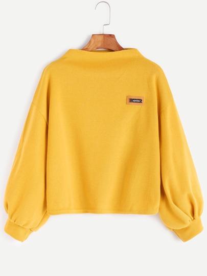 Sweat-shirt collier entonnoir manchon de lanterne à l'épaule laissé avec piéces -jaune