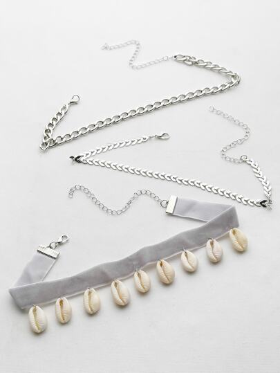 Shell Embellished And Metal Chain Choker Set