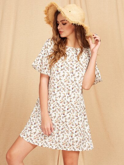 Flutter Sleeve Ditsy Dress