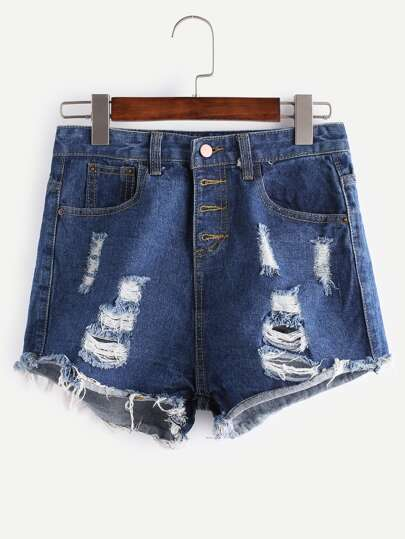 Blu Strappato nappa del denim del bordo Shorts