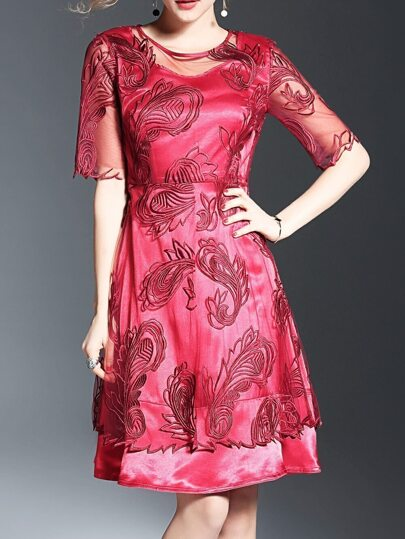 Red Gauze Flowers Embroidered A-Line Dress