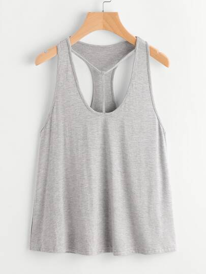 T-Strap Scoop Neck Heathered Racerback Tank Top
