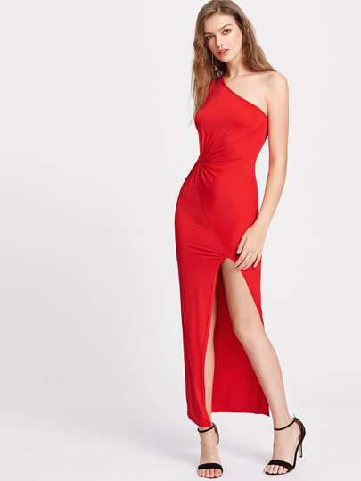 Twist Front High Slit One Shoulder Dress
