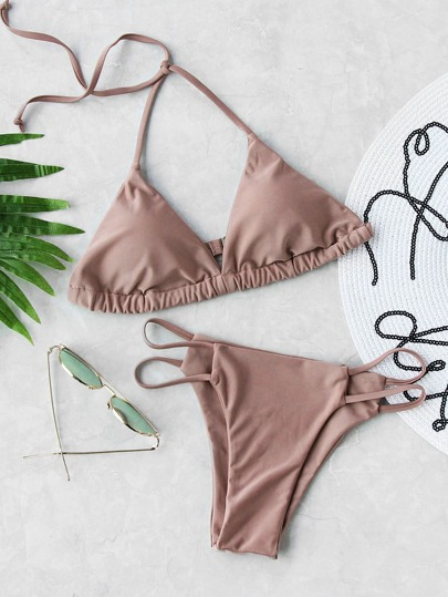 Ladder Cutout Triangle Bikini Set