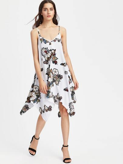 Crisscross Back Handkerchief Cami Dress