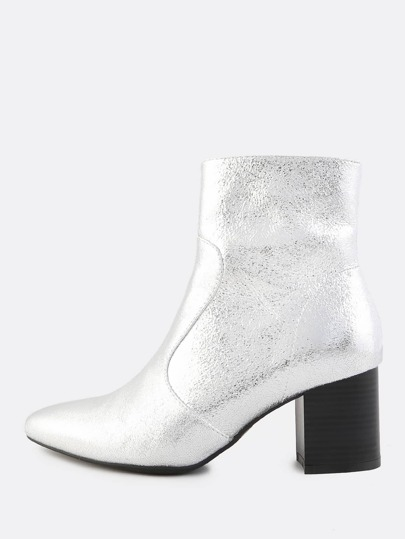 Metallic Crushed Point Toe Booties SILVER