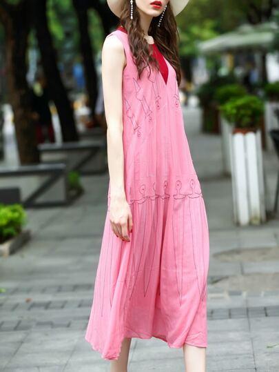 Vestido bordado de color combinado