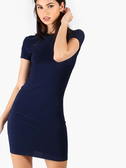 Short Sleeve Hoodie Dress NAVY