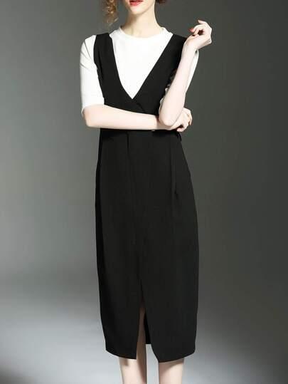 2 Stücken Kleid mit Strick Shirt und Spalten - schwarz