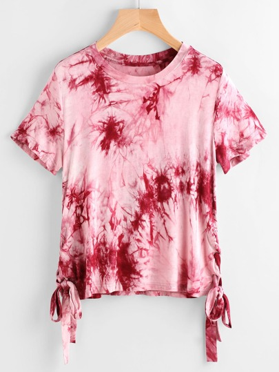 Burgundy Tie Dye Print Lace Up Side T-shirt