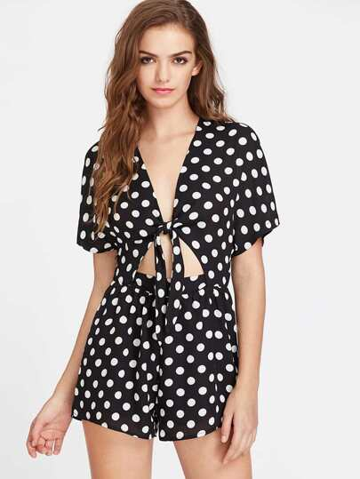 Plunging Knot Front Cutout Midriff Polka Dot Playsuit