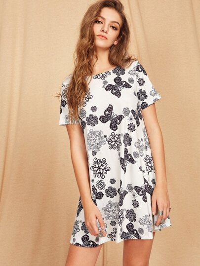 Flower And Butterfly Print Short Sleeve Dress