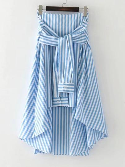 Falda asimétrica contraste de rayas de cintura con nudo