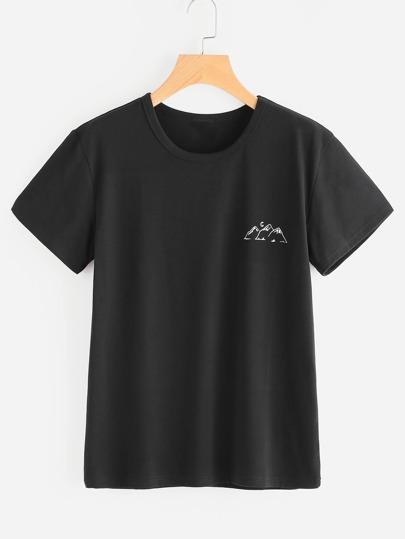 Tee-shirt imprimé de la montagne