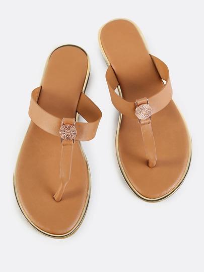 Adorned Thong Strap Flat Sandals TAN