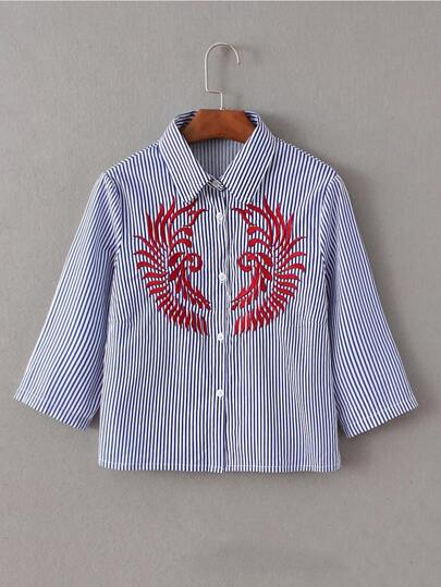 Vertical Striped Embroidery Blouse