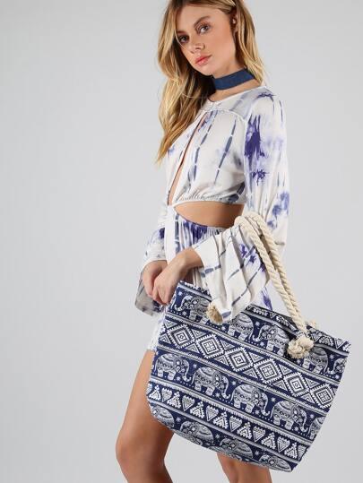 Tribal Print Rope Tote Bag NAVY