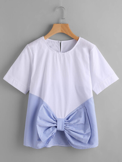 Contrast Striped Bow Front Keyhole Top