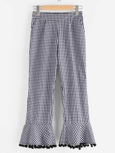 Side Zip Pom Pom Flare Hem Checkered Pants