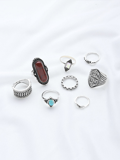 Gemstone Design Ring Set