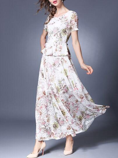 Robe en lace floral faux-deux