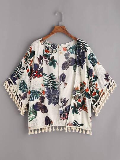 Kimono découpé avec des franges