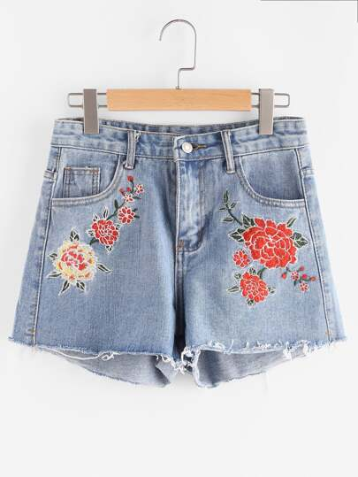 Denim Shorts mit Stickereien