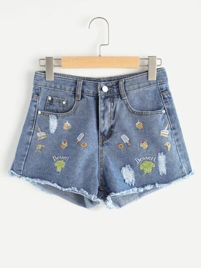 Shorts en denim bordado roto de borde crudo