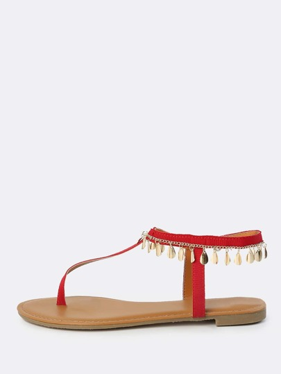 Thong Teardrop Anklet Sandals RED