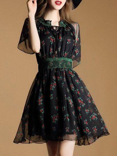 Black Tie Neck Sheer Print Dress