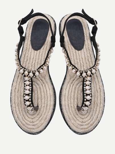 Sandalias con diseño de pedrería y perla de imitación con tira en el dedo