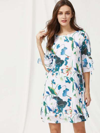Drawstring Bell Cuff Lotus Print Dress