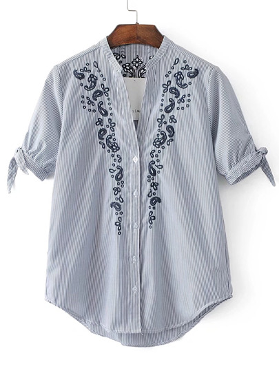 Pinstripe Flower Embroidery Tie Cuff Blouse