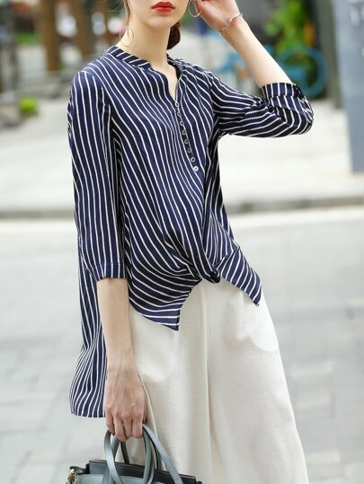 Striped High Low Blouse